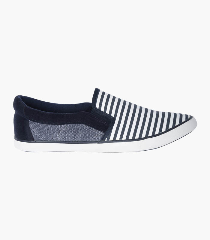 Men Navy & White Striped Shoes - Side
